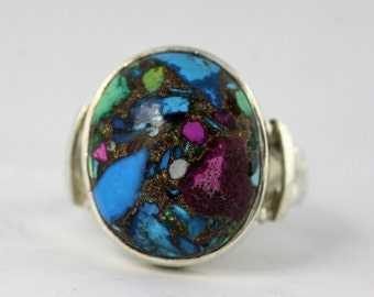50% OFF Antique Silver Ring, Colorful Stone Ring, Silver Jewelry, Multi-Color Silver Jewelry, Natural Stone Ring