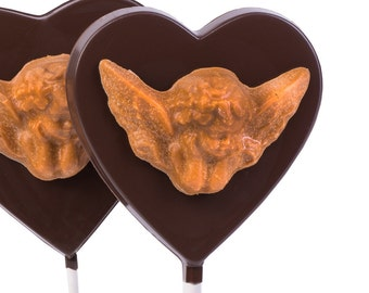 Valentine's Day Chocolate - Big Chocolate Heart Lolly with Caramel Sea Salt Chocolate Angel/Cherub  *Valentine Party Favors