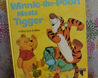 Vintage Winnie-the-Pooh Meets Tigger/Walt Disney Presents/A Story by A.A.Milne/A Golden Book/Large hardcover Fifth Printing 1972/Piglet/Roo