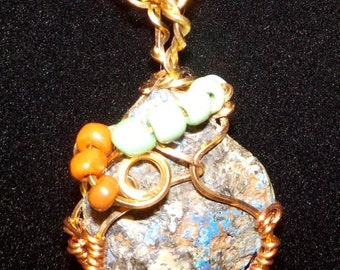 Copper Minerals Wire-Wrapped Necklace