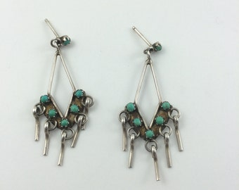 Zuni Blue Green Turquoise Earrings, Sterling silver