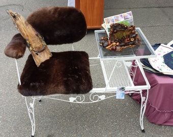 Vintage wrought iron and recycled fur Chair