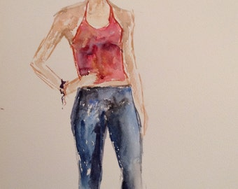 giclee reproduction of original watercolor of girl in red vest