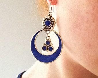 Dark blue nepal earrings, bohemian style, tibetan earrings, nepalese jewelry