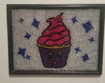 Cupcake Mardi Gras Bead Art