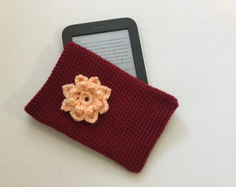 E-reader cover, e-reader cozy, Christmas gift, stocking stuffers, crochet e reader sleeve, reader case, reader cover
