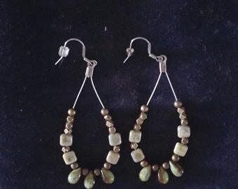 Green Beaded Loop Earrings