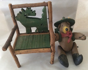 Vintage Ranger Bear and Wooden Chair with Moose Carving