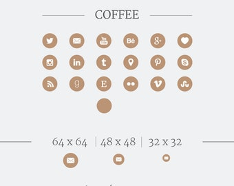 Social Media Icons // Social Media Buttons // Coffee Social Icons // Brown Social Icons