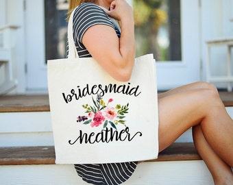 Floral Bridesmaid Tote, Custom Bridesmaid Tote Bag, Floral Bridesmaid Bag, Bridal Party Tote Bag, Tote Bags for Bridal Party, Bridesmaid Bag