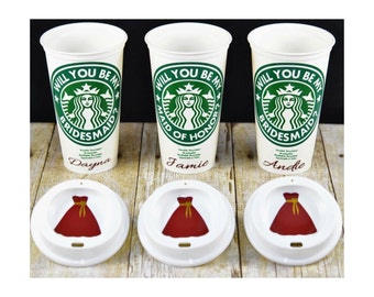 Will You Be My Bridesmaid Gift, Starbucks Bridal Party Cups, Bridesmaid Proposal, Personalized Coffee Tumbler, Bridesmaids Gifts, Photo Prop