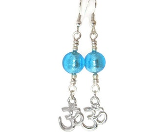 Silver Om Earrings with Blue Glass Beads, Yoga Jewelry
