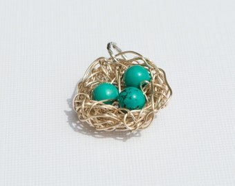 Hand Made Nest charm with genuine turquoise beads