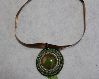 Green, brown and silver hand made bead embroidered pendant