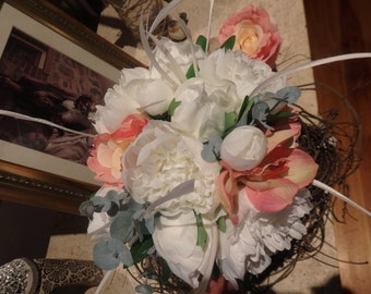 Cascading pink rose feather bouquet - simply gorgeous