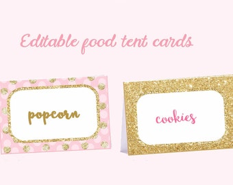 Editable  Pink and Gold Food tent cards, Pink and Gold food tent labels, gold polka dot, place cards pink gold, Digital file.