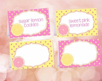 Editable Pink Lemonade food tent cards, Pink Lemonade food labels, Lemon Party decorations, Digital file.