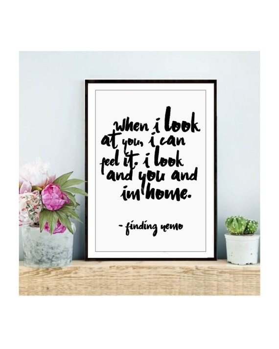 Finding Nemo quote digital print, finding nemo poster, finding nemo nursery decor calligraphy print motivational quote poster decor