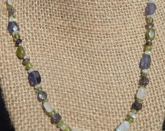 Iolite, Peridot and Rainbow Moonstone Necklace #44