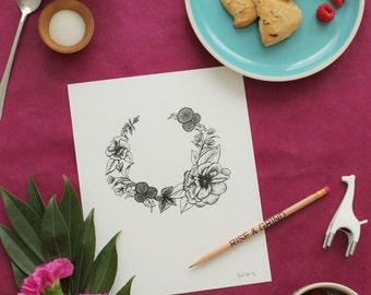 Flower Ink Drawings- Set of 3-  8x10