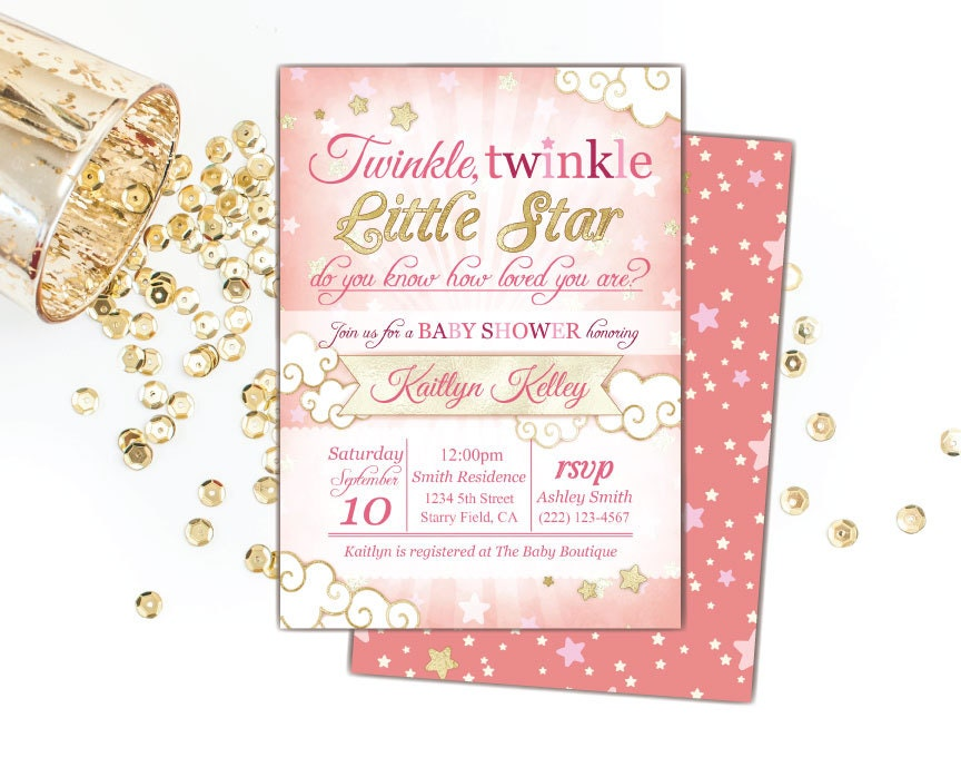 twinkle twinkle little star baby shower invitation pink and