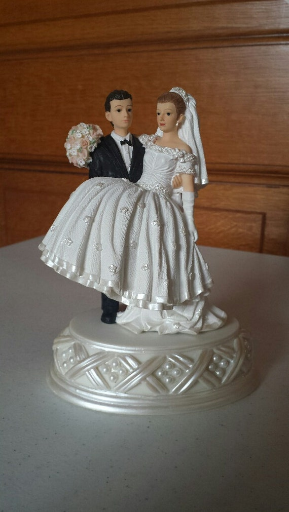 dark hair wedding cake toppers light hair and hair groom cake top with pearl base 13343