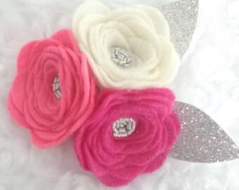 Pink- 3 flower headband