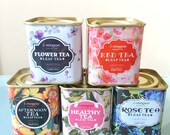 Succulent Planters - Floral Tea Tins - Succulents or Herbs - Choose Your Color of Choice - Sold as a Single Tin
