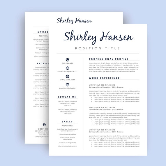 teacher resume template    cv template for word two page