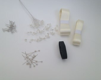 DIY wedding flower buttonhole kit, Ribbon, floristry tape, crystal pins