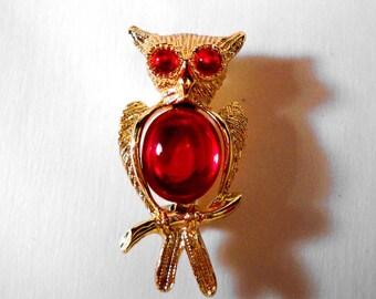 Vintage Jeweled Owl Brooch * U2273 Owl Jewelry
