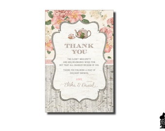Rustic Floral Thank You Card. Vintage Baby Shower Tea Party Printable Thank  You Notes.