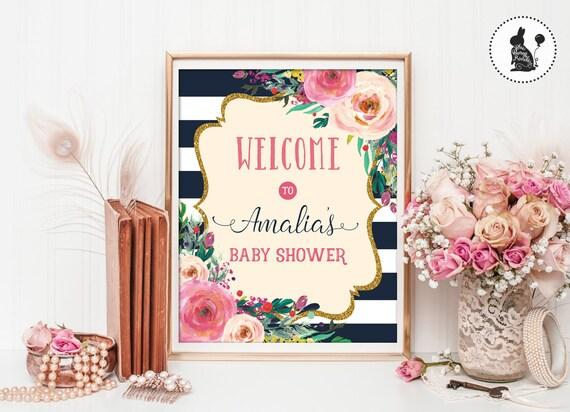 Baby Shower Decor Printables ~ Floral baby shower welcome sign. printable. high tea shower decor
