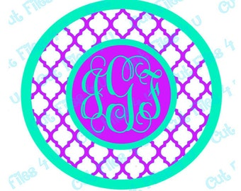 Quatrefoil Circle Monogram: PNG, SVG cut files included for vinyl, paper, etc.