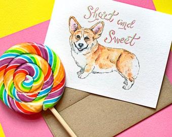 Cute Dog Greeting Card of a Corgi
