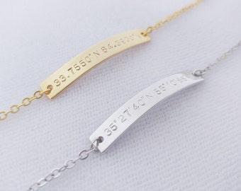 Custom Hand Stamped Gold Coordinates Bracelet, Location GPS Coordinates, Latitude Longitude, Wedding Gift, Anniversary Gift