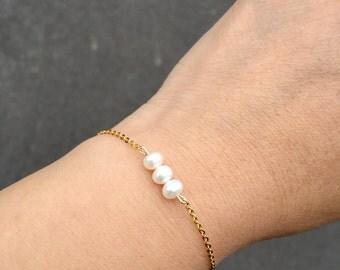 Freshwater Pearl Bracelet. Bridesmaid Bracelet.