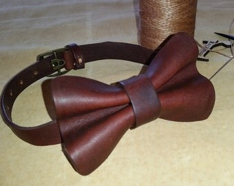 LEATHER Bow Tie - NEW made with Vintage Brown Repurposed Leather