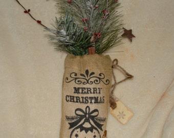 Merry Christmas mini Burlap sack