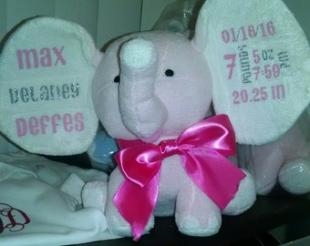 Personalized Elephants (pink or blue)