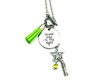 "Second Star to the Right Peter Pan Inspired Glass Beaded Tassel Charm 26"" Chain Necklace Silver Tone"