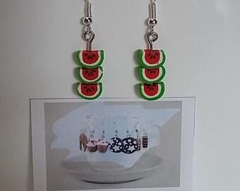 watermelon fimo earrings - orecchini in fimo con fette di cocomero