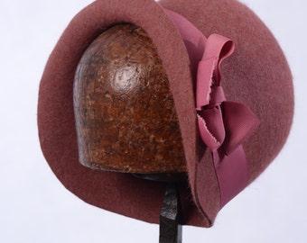 Handmade Miss Phryne Fisher Pink Fur Felt Cloche Hat