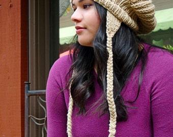 Earflap Pom Pom Slouch Knit Khaki Beanie Winter Hat