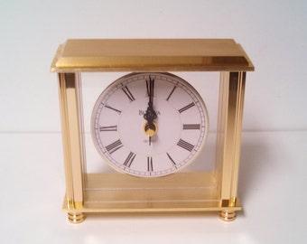 Bulova Desk Clock B 1703-4 Cheryl Brass Table Clock Office Clock Mantel Clock Retro and Modern