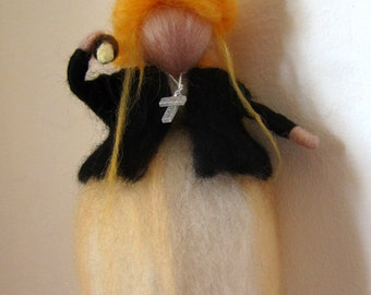 """Buffy the vampire slayer, Needle felted wool Buffy, Girl power, BTVS soft sculpture, Waldorf inspired Buffy Summers """"Prophecy girl"""" doll"""