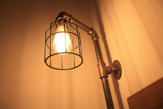 black iron pipe wall lamp industrial pipe sconce black iron pipe. Black Bedroom Furniture Sets. Home Design Ideas