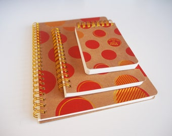 Set of 3 red and Golden spiral format A5-A6-A7 pea notebook / / hardcover in caton / / book spiral / / spiral note book