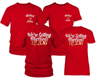Custom Couple Shirts. Save the date shirts. Marriage announcements