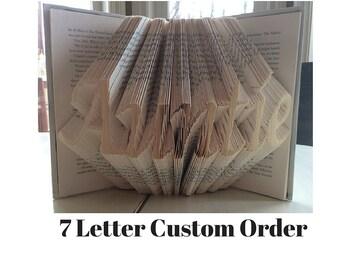 Folded Book Art, custom name, Book art, Book folding,book Origami, unique gift, book sculpture, bookfolding art
